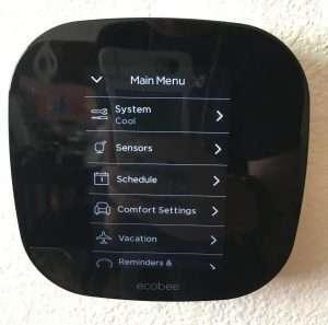 EcoBee3 menu