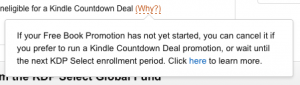 Amazon KDP Select Promotion option limitations